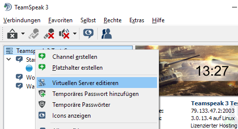 Virtuellen Server editieren